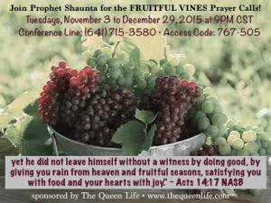 Fruitful Vines Prayer Calls